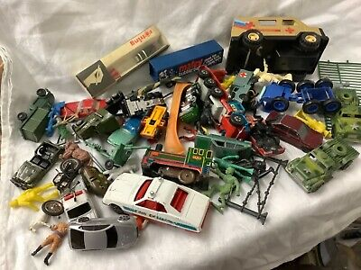 Die Cast, Tin Plate, Cars Trucks, Soldiers Toy Box Job Lot Collection  • 5£