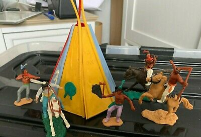Timpo Swoppet 3 Mounted 2 Standing Indians And WigWam Tepee Plus Free Spares • 4.99£