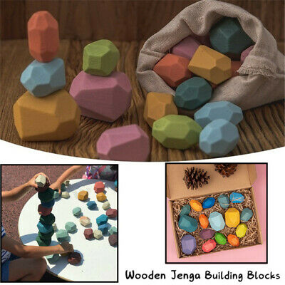 11/16x Wooden Toys Colored Stone Building Blocks Stacking  Educational Toy Gift • 10.99£