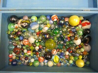 Lot Of 230 + Marbles In Wooden Case • 10£