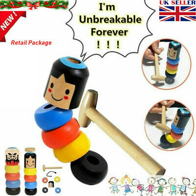 Immortal Doll By Unbreakable Wooden Magic Toy The Wooden Stubborn Man Toy UK • 2.99£