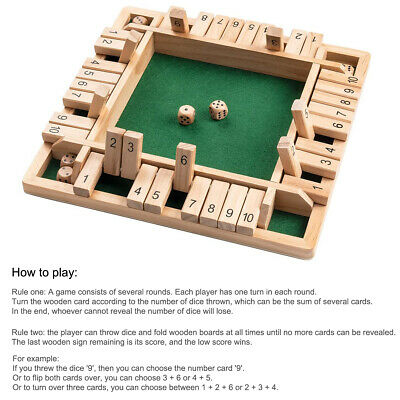 Wooden 4 Players Shut The Box Dice Game Tabletop Family Games Learn Number Fun • 9.99£