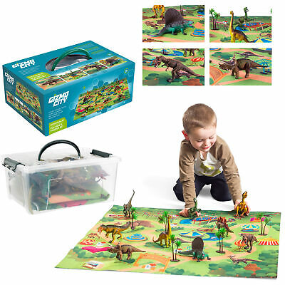 Realistic Dinosaur Toys Figures Playset With Play Mat & Trees Educational Set UK • 14.99£