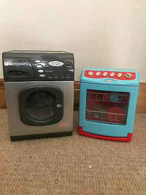 Kids Toy Washing Machine Electronic Spin Hotpoint Play Dishasher With Dishes • 15£