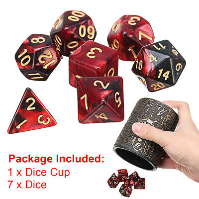 7 In 1 Polyhedral Dices Dungeons And Dragons DND RPG MTG Dice Cup Multicolour • 6.99£