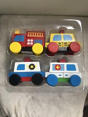 4 Chunky Wooden Rescue Cars Stacking Construction Emergency Vehicles Nursery • 7.99£