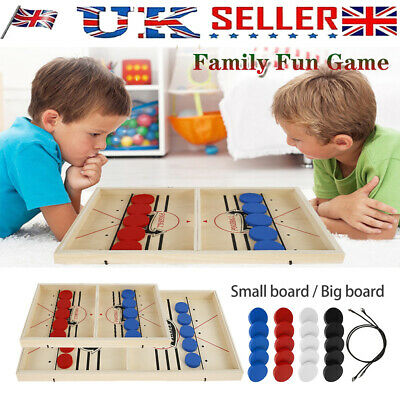 Wooden Hockey Game  Fast Sling Puck Game Family Game Table Game Child Toy UK • 18.99£