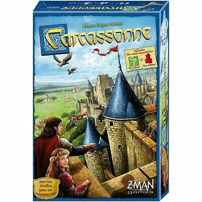 Core Base Family Game |  Carcassonne Board Game 2015 Edition Inc River Expansion • 22.99£