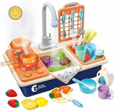 Pretend Play Kitchen Sink Toys With Play Cooking Stove, Pot And Pan+Spray Light • 23.99£
