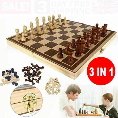 3in1 Large FOLDING WOODEN CHESS SET Board Game Checkers Backgammon Draughts Toy • 11.99£