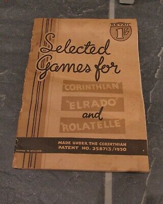 Selected Games For Corinthian Elrado & Rolatelle  Bagatelle Instruction Booklet  • 2£
