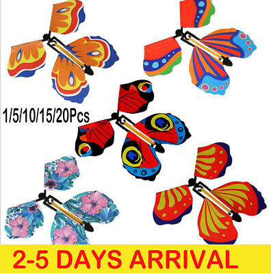 20x Magic Flying Wind Up Butterfly Toy For Christmas Greeting Card Wedding Prank • 7.19£