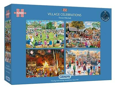 Gibsons Village Celebrations 4 X 500pc Puzzle G5051 • 24.99£