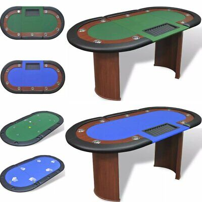 10 Player Casino Poker Table Desk Dealer Area With Removable Chip Tray Home Game • 404.08£