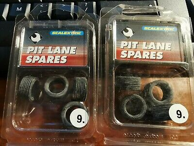 2x Packs Of Scalextric Pit Lane No.9 Spares, Four Tyres C8079 (8x Tyres) • 9.85£