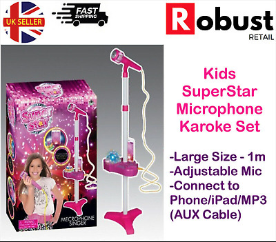 Kids Karaoke Machine Microphone Set Adjustable Stand Music Play Set Light Up • 13.99£