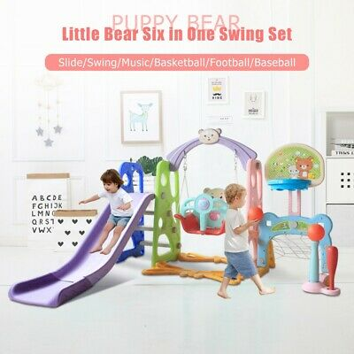 6 In 1 Kids Indoor And Outdoor Slide Swing And Basketball Football Baseball Set • 120.99£