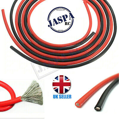 10/12/14/16 AWG Gauge Flexible Silicone Wire Copper Black Red RC Cable UK Seller • 18.95£