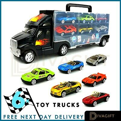 Toy Truck Carrier 6X Mini Cars Play Set Transport Car Toys Lorry Truck Kids Toy • 11.99£