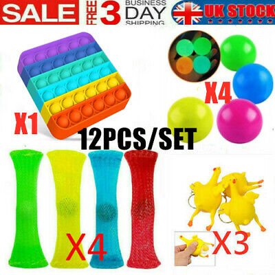 12 Pack Fidget Sensory Toys Set For Stress Relief Anti-Anxiety Stocking Stuffer • 12.98£