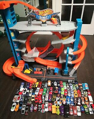 Job Lot HOT WHEELS City Garage With Loops, Shark, Car Wash + Around 100 Cars Set • 41£