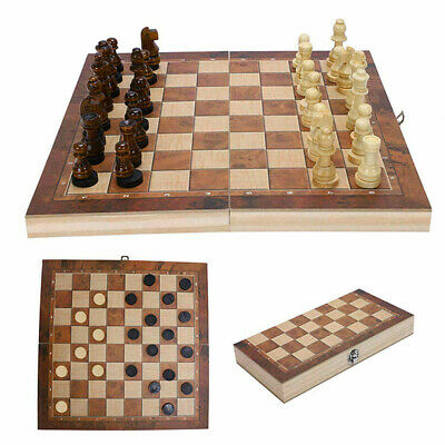 UK Large Chess Wooden Set Folding Chessboard Magnetic Pieces Wood Board New • 12.89£