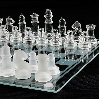 Large Chess Glass Set International Chessboard Gift Pieces Travel Board UK • 14.99£