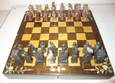 Chess Set In Wooden Case With Marble Pieces ~ Made In Korea • 10£