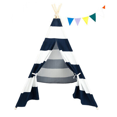 STUNNING - Wooden Poles Tepee 4PC Tent For Kids - Navy Blue And White Stripes • 38.99£