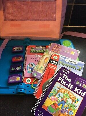 LeapFrog LeapPad Learning System With 4 Books, 4 Cartridges And Large Carry Bag • 9£