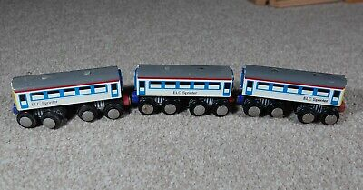 Three ELC Sprinter Coaches Brio ELC Etc Compatible For Wooden Train Set Toy • 0.99£