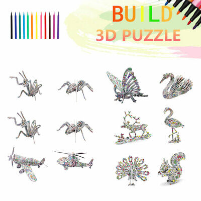 3D Coloring Puzzle Set 4 Animals Puzzles With 12 Markers Art Coloring Painting • 10.59£