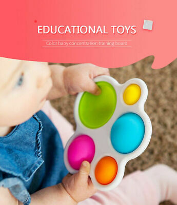 Baby Simple Dimple Sensory Toy Silicone Flipping Board Bright Coloured Gift • 5.89£
