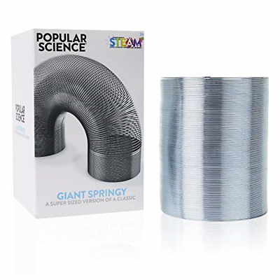 POPULAR SCIENCE Giant Springy Large Metal Coiled Helix Toy, Silver • 15.57£