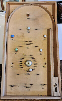 RARE VINTAGE WOODEN TABLE TOP BAGATELLE BOARD GAME BY EXITOY ~ Czechoslovakia.  • 25£