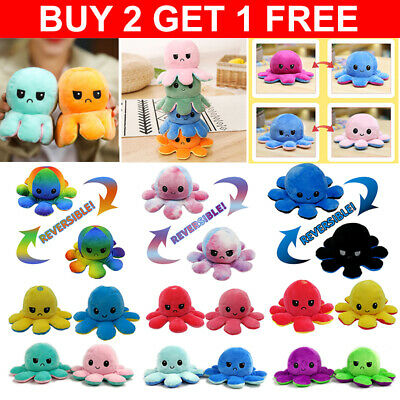 Cute Double-Sided Flip Reversible Octopus Plush Toys Funny Animals Doll Gift UK • 6.99£