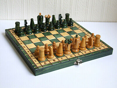 Folding Wooden Chess Set Board And Pieces • 6.21£