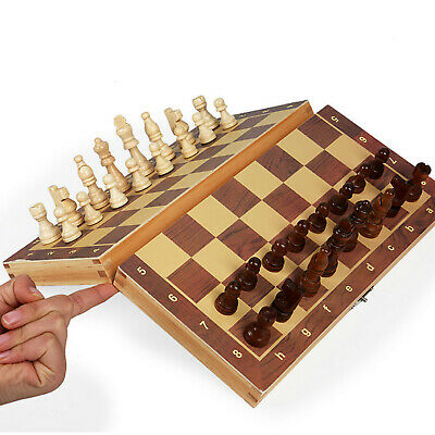 Large Chess Wooden Set Folding Chessboard Magnetic Pieces Wood Board UK • 12.49£