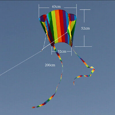 Colorful Gradient Long Tail Rainbow Kite Pocket Kite Adults Children Kids Toy • 7.91£