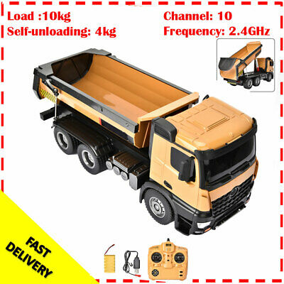 HUINA 1573 1:14 RC Truck 10-CH Remote Control Dump Truck Engineering Car Toy • 89.94£